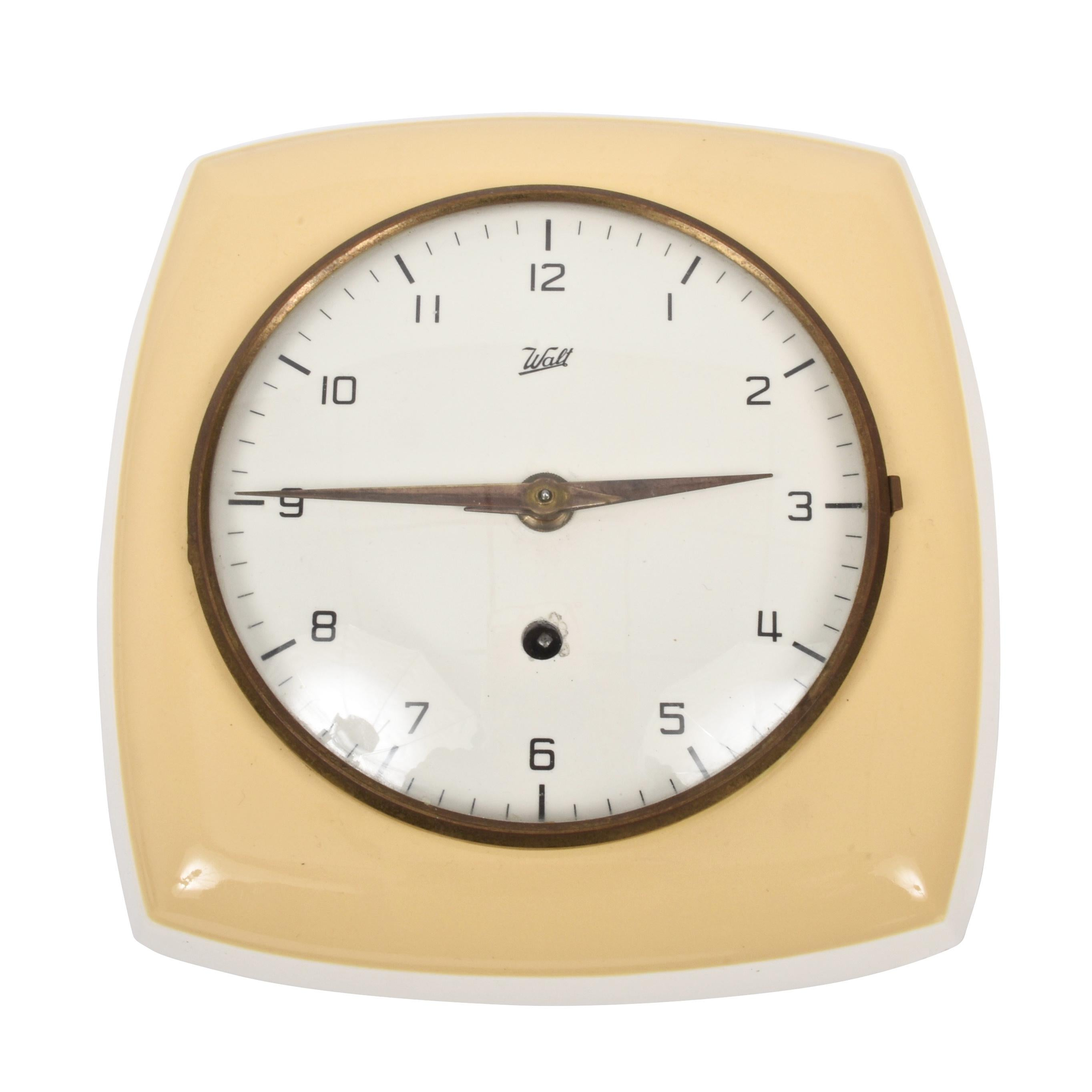 Midcentury Ceramic Wall Clock by Walt, Germany, 1950s