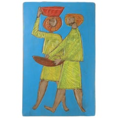 """Midcentury Ceramic Wall Decoration with """"Soskuti"""" Sign, 1971"""