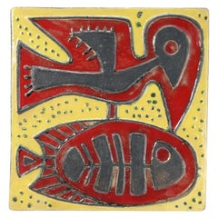 Midcentury Ceramic Wall Plate with Bird Motif, 1970s