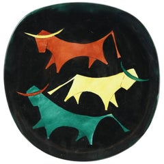 Midcentury Ceramic Wall Plate with Bulls Motif, 1970s