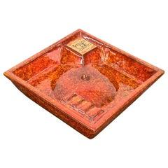 Midcentury Ceramiche Ragno Square Red Glazed Ceramic Italian Ashtray, 1970s