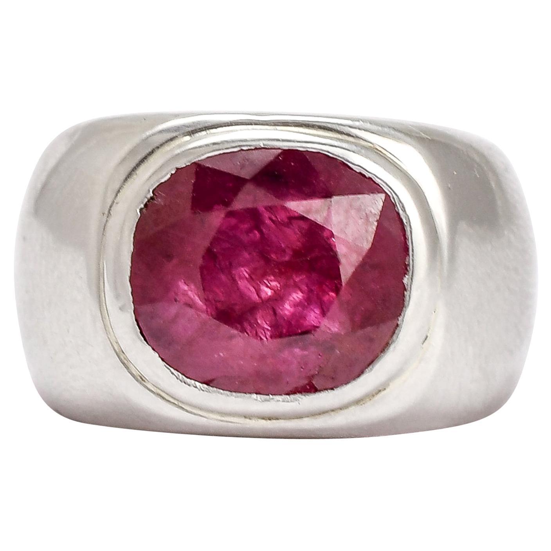 Midcentury Certified 5.59 Carat Burma Ruby Platinum Signet Ring