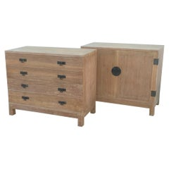 Midcentury Cerused Oak Chest and Cabinet Set