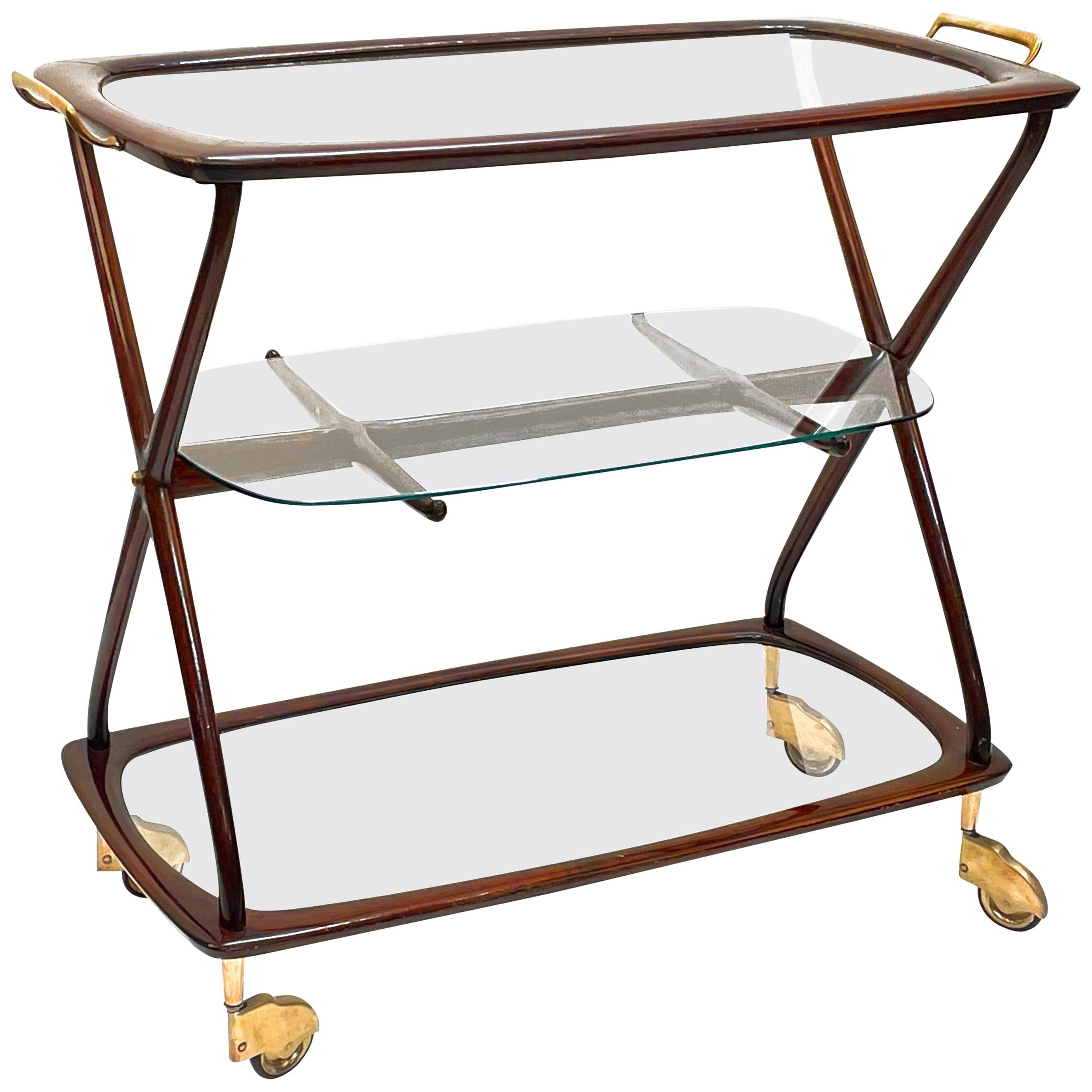Midcentury Cesare Lacca Brass and Wood Italian Oval Serivng  Bar Cart, 1950s