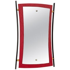 Midcentury Cesare Lacca Enameled Iron, Wood and Brass Italian Wall Mirror, 1950s