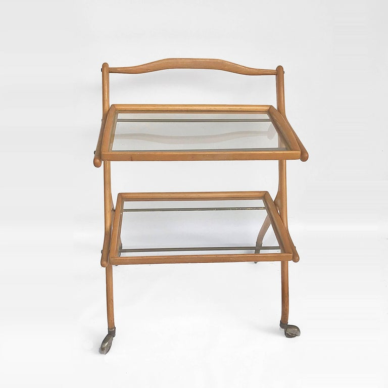 Mid-Century Modern Midcentury Cesare Lacca Italian Trolley Bar Cart with Glass Shelves, 1950s For Sale