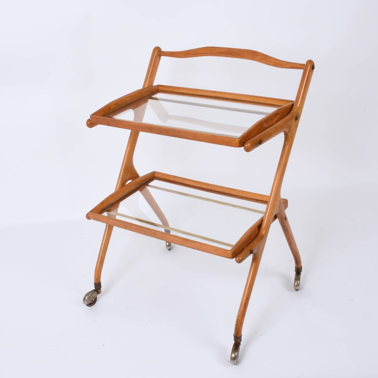 Brass Midcentury Cesare Lacca Italian Trolley Bar Cart with Glass Shelves, 1950s For Sale
