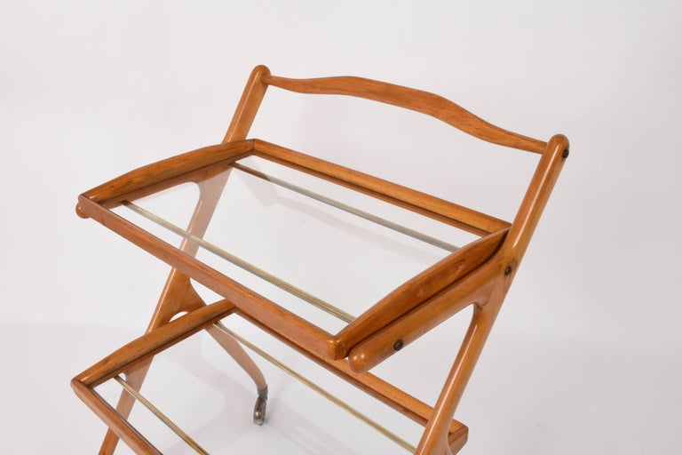 Midcentury Cesare Lacca Italian Trolley Bar Cart with Glass Shelves, 1950s For Sale 2