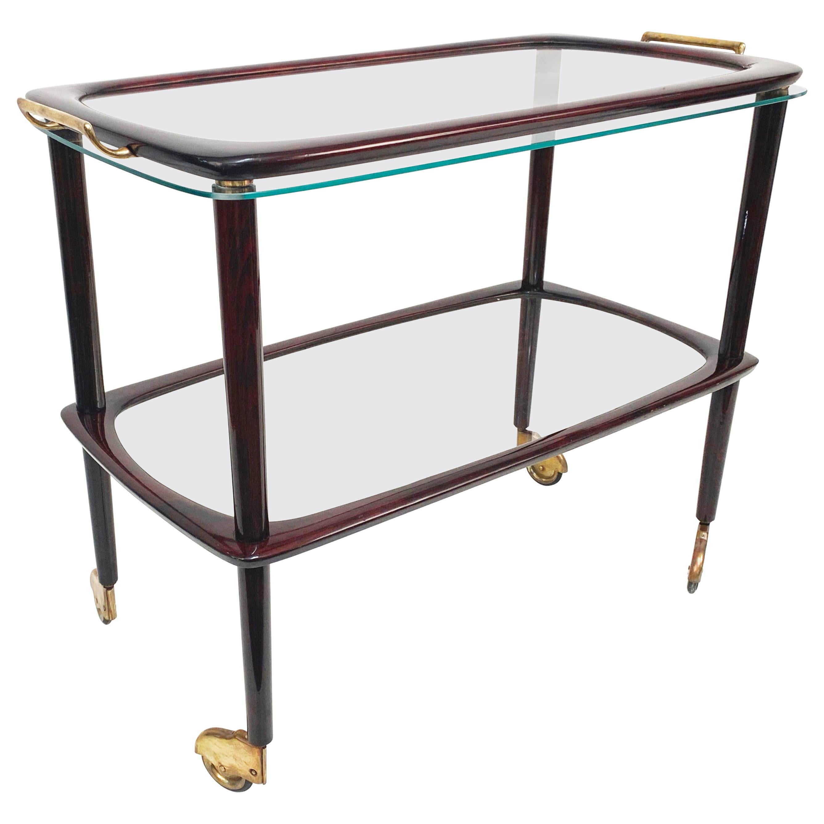 Midcentury Cesare Lacca Wood Italian Bar Cart with Glass Serving Tray, 1950s