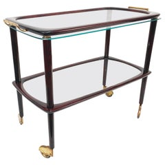 Midcentury Cesare Lacca Mahogany Italian Bar Cart with Glass Serving Tray, 1950s