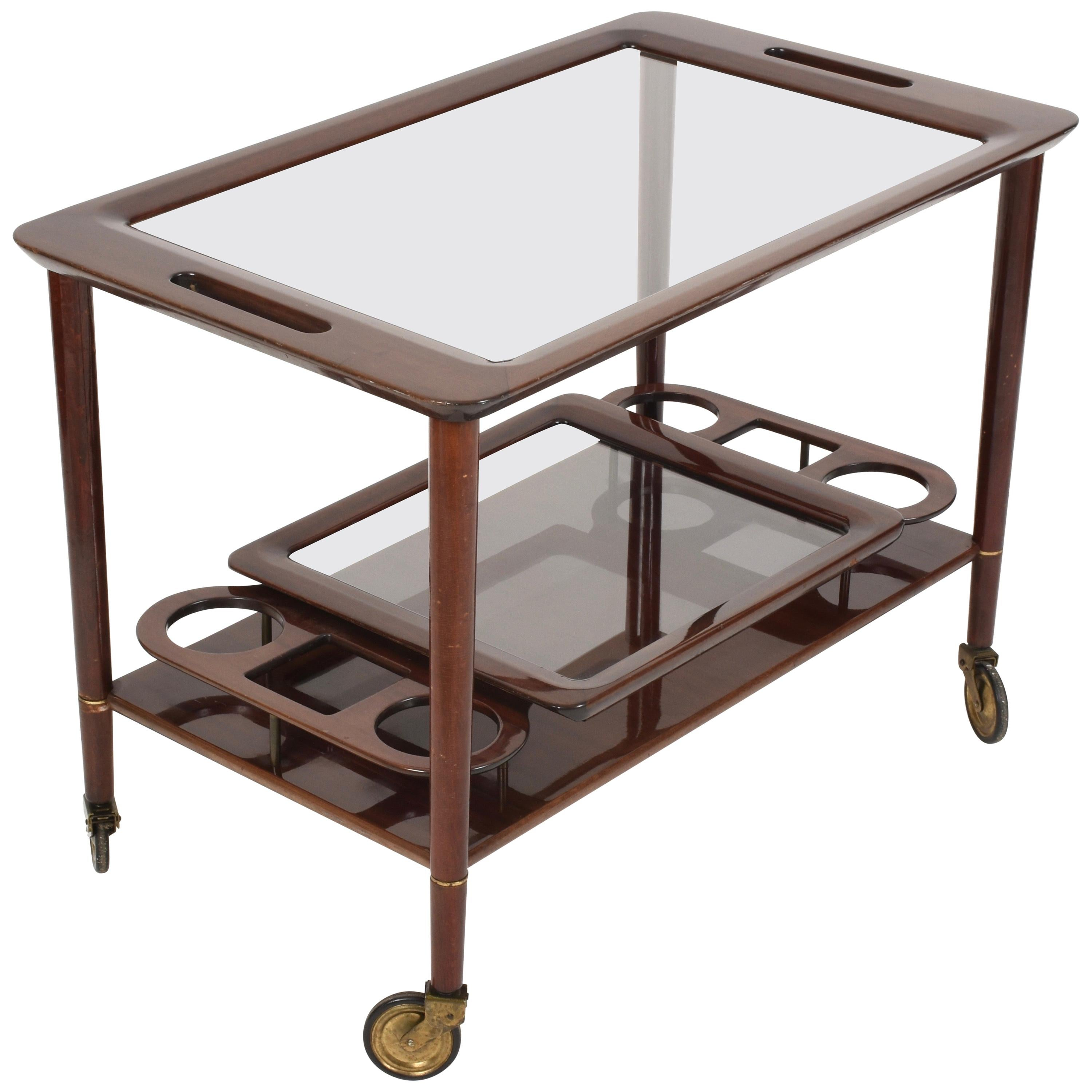 Midcentury Cesare Lacca Wood Italian Bar Cart with Glass Serving Trays 1950s