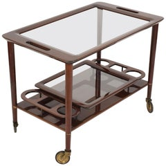 Midcentury Cesare Lacca Mahogany Italian Bar Cart with Glass Serving Trays 1950s
