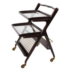 Midcentury Cesare Lacca Mahogany Italian Bar Cart with Serving Trays, 1950s