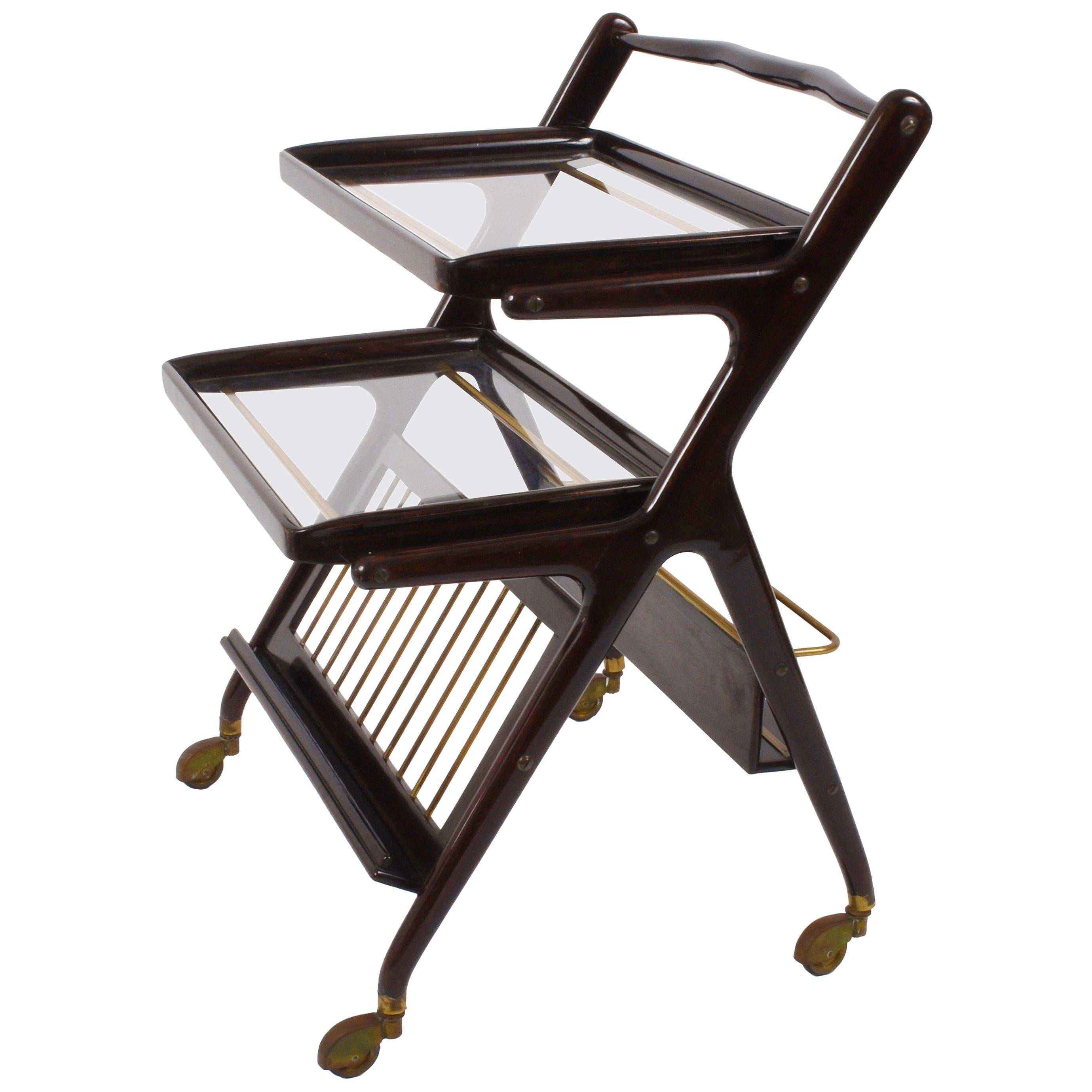 Midcentury Cesare Lacca Wood Italian Bar Cart with Serving Trays, 1950s