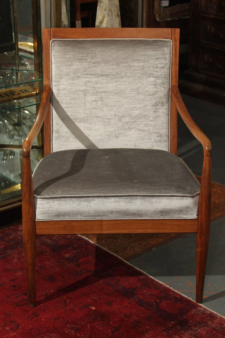 Midcentury wood frame chair newly updated in pearl gray silk velvet. Beautiful and comfortable side chair for any room in the house.