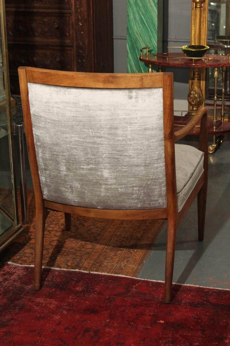 Midcentury Chair in Velvet For Sale 3