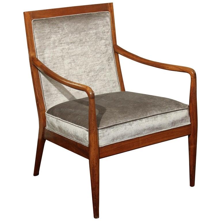 Midcentury Chair in Velvet For Sale