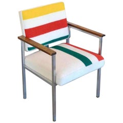 Midcentury Chair with Stainless Frames, Wood Arms and Pendleton Stripes
