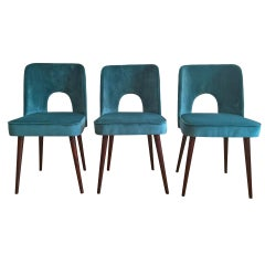 Midcentury Chairs in Sea Blue Velvet by Leśniewski , 1960s, Set of 3