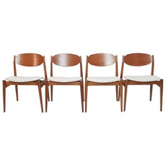 Midcentury Chairs in Teak and Leather by Leonardo Fiori for ISA Bergamo