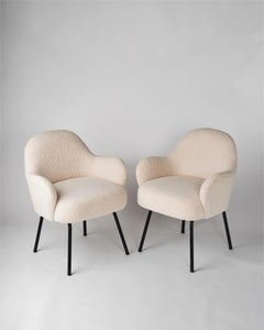 Midcentury Chairs in the Style Saarinen in Cream Bouclé, France, 1960s