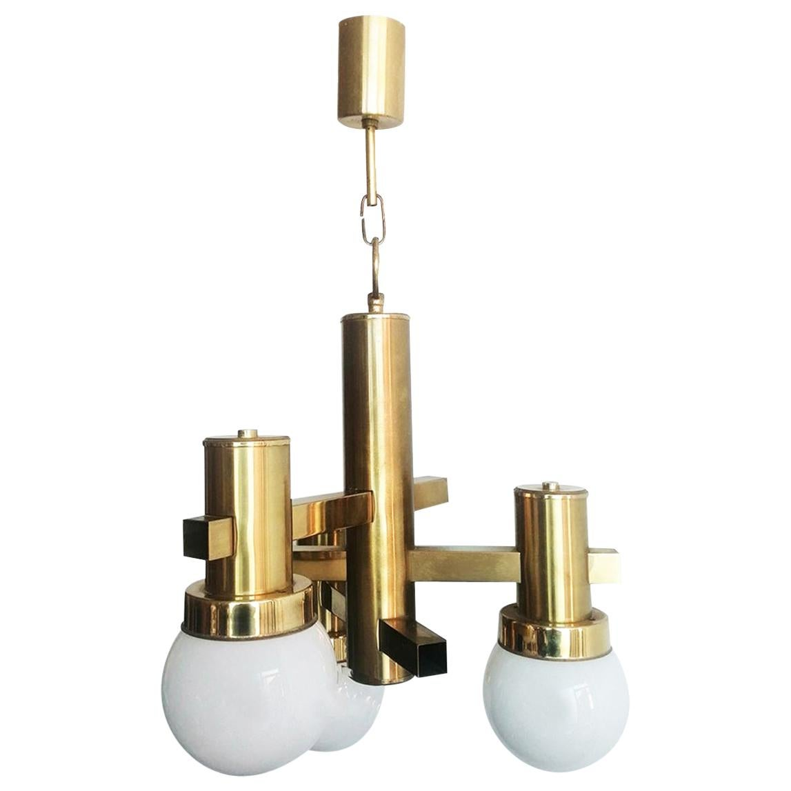 Midcentury Chandelier, Brass and Opaline Glass Sciolari Style, Italy, 1960s