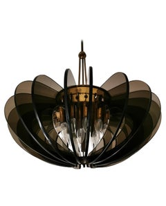 Midcentury Chandelier by Gino Paroldo in Brass and Glass Fumè, 1960s, Italy