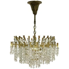 Midcentury Chandelier by Palwa, Gilt Brass and Crystal, Germany, circa 1960s