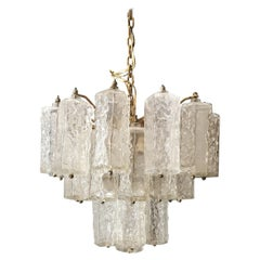 Midcentury Chandelier by Venini in Murano Glass and Metal, Italy, 1960s