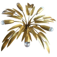 Midcentury Chandelier Golden Leaves Handcrafted Wrought Iron, Spain, 1950s