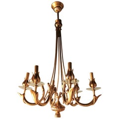 Midcentury Chandelier in Brass at 6 Lights Attributed to Oscar Torlasco, 1960s