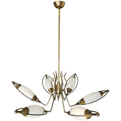 Mid Century Chandelier in the Style of Stilnovo Brass Opal Glass Italy 1960s