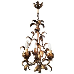 Midcentury Chandelier or Pendant Leaves Wrought Iron, Spain, 1950s