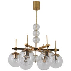 Midcentury Chandelier with Brass Fixture and Hand Blown Glass, Europe