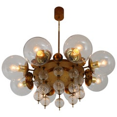 Midcentury Chandelier with Patinated Brass Fixture, Europe, 1950s