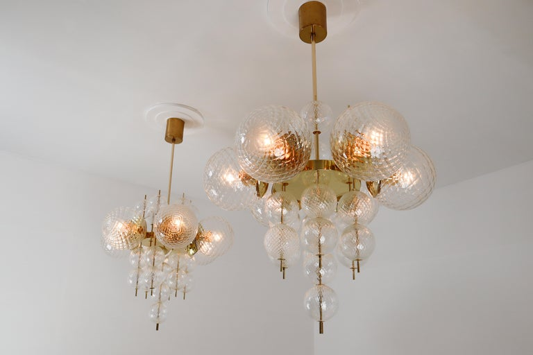 Mid-Century Modern Midcentury Chandeliers with Brass Fixture and Art-Glass, Europe, 1970s For Sale