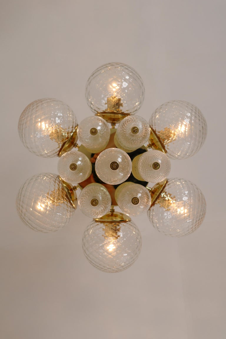 European Midcentury Chandeliers with Brass Fixture and Art-Glass, Europe, 1970s For Sale