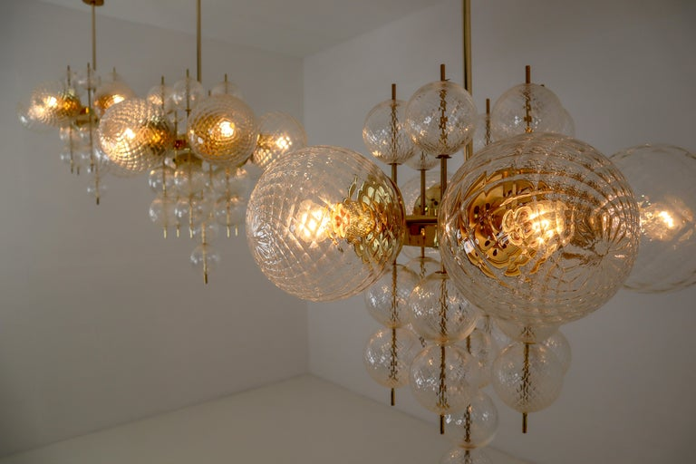 Midcentury Chandeliers with Brass Fixture and Art-Glass, Europe, 1970s In Excellent Condition For Sale In Almelo, NL