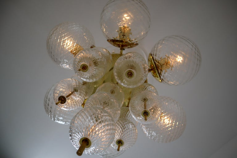 Late 20th Century Midcentury Chandeliers with Brass Fixture and Art-Glass, Europe, 1970s For Sale