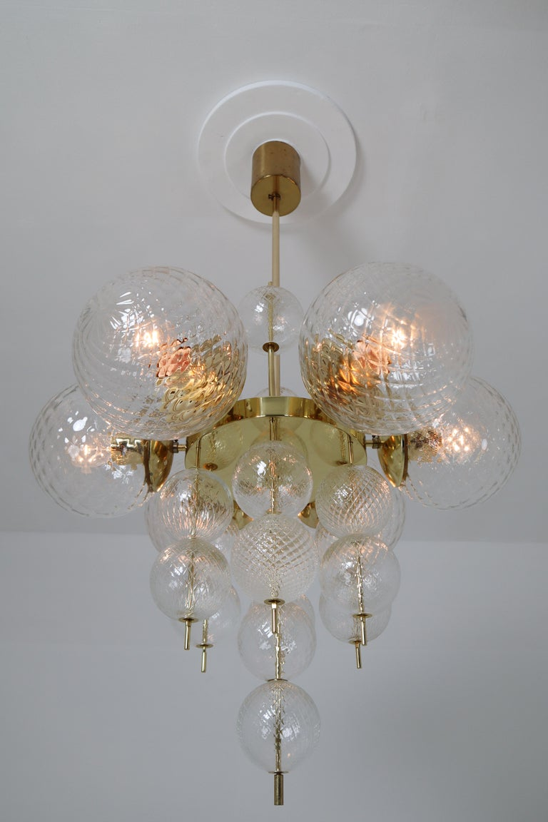 Art Glass Midcentury Chandeliers with Brass Fixture and Art-Glass, Europe, 1970s For Sale