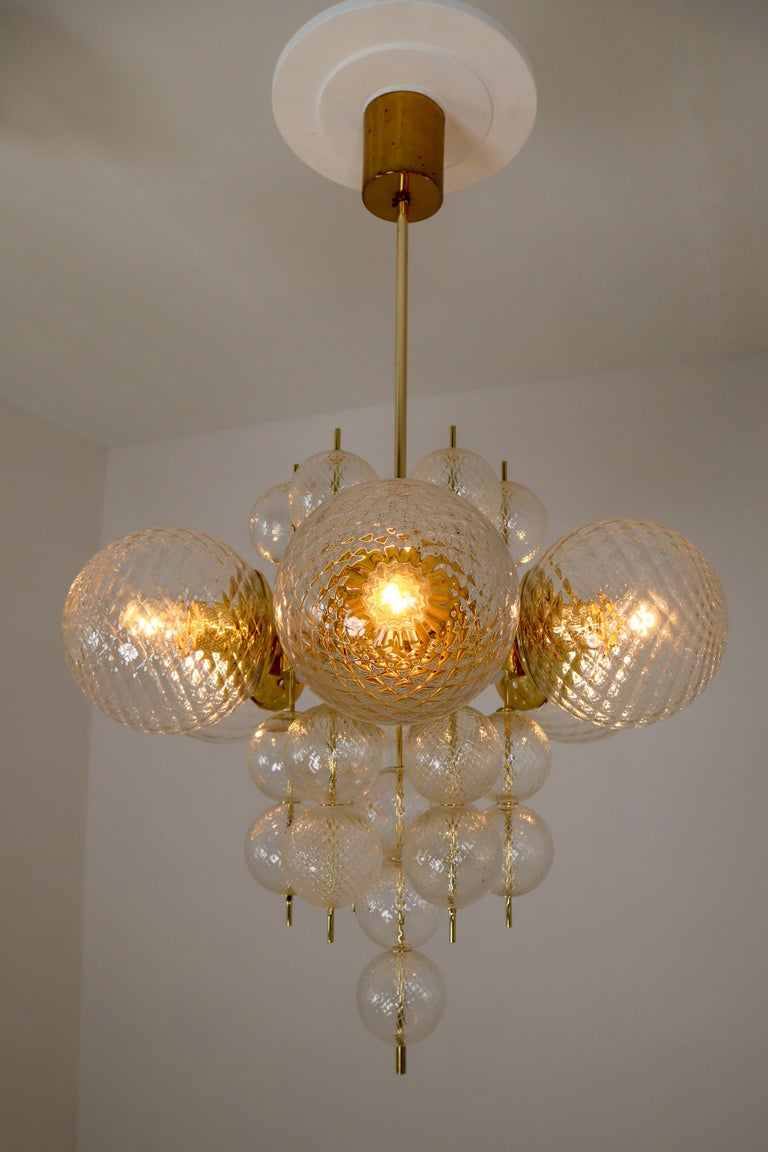 Midcentury Chandeliers with Brass Fixture and Art-Glass, Europe, 1970s For Sale 1