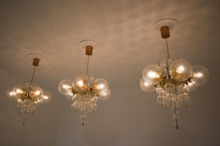 Midcentury Chandeliers with Brass Fixture and Art-Glass, Europe, 1970s For Sale 2