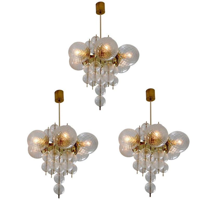Midcentury Chandeliers with Brass Fixture and Art-Glass, Europe, 1970s For Sale