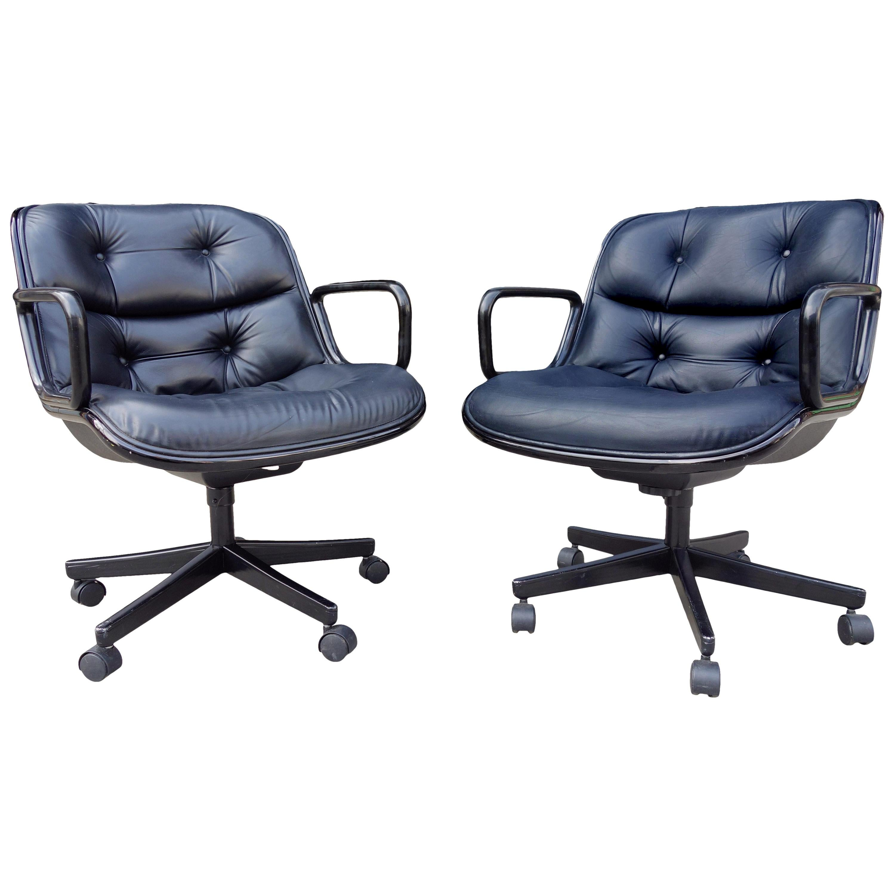 Midcentury Charles Pollock Executive Chair for Knoll in Black
