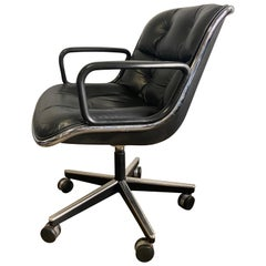 Midcentury Charles Pollock Executive Chairs for Knoll in Black