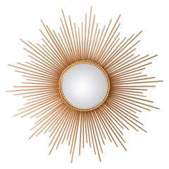 Midcentury Chaty Vallauris Style Gilt Metal Sunburst Wall Mirror Wall Sculpture