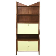 Midcentury Wood and Light Yellow Formica Cabinet, Italy