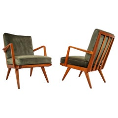 "Midcentury Cherry Armchairs Designed by Walter Knoll ""Antimott"", Germany, 1950s"