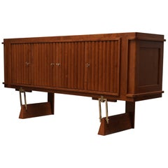 Midcentury Cherrywood and Brass Italian Sideboard, 1950