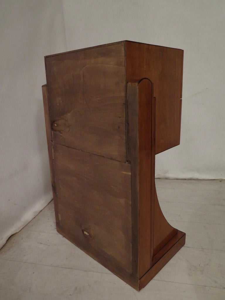 Midcentury Cherrywood and Glass Bedside Table, 1940 For Sale 3